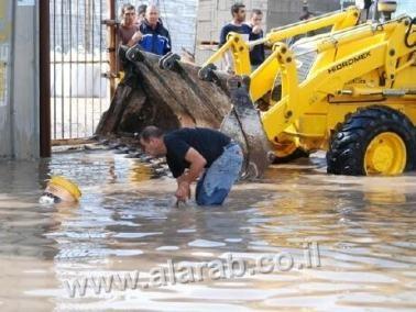 طمرة: اختناقات مرورية في الشارع الرئيسي بسبب الفيضانات