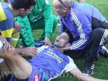 مالك كبها لاعب بلدي كفرقرع بعد تعرضه للاصابة