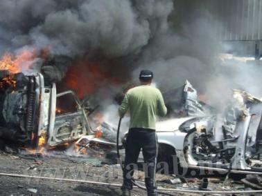 حريق هائل في ورشة عمل بمحاذاة شارع 65 وادي عارة
