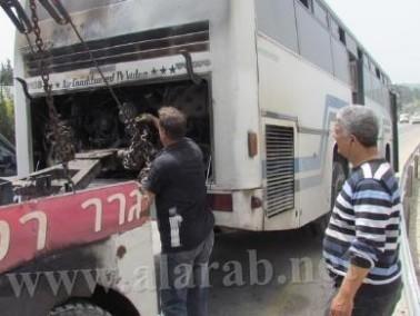 اندلاع النيران في حافلة كانت تقل طلاب مدرسة من عرابة