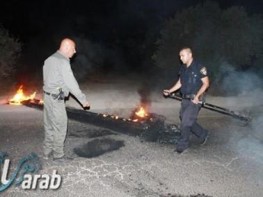 اضرام النيران باطارات مطاطية على شارع سخنين عرابة