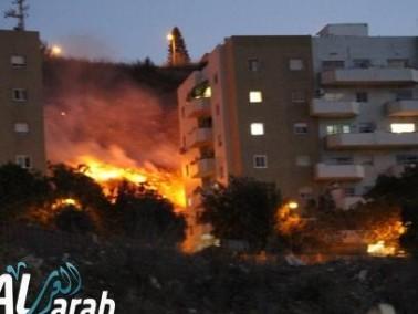 حريق هائل في منطقة هاريونا نتسيريت عيليت