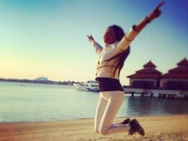 لاميتا فرنجية تستعرض رشاقتها في دبي