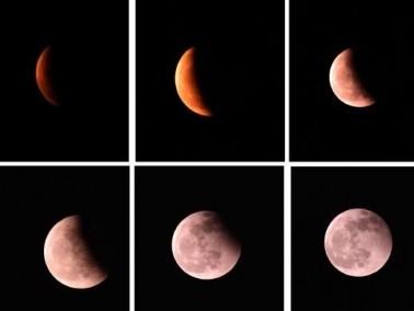 خسوف كامل للقمر يليه ظهور القمر الأحمر ..صور