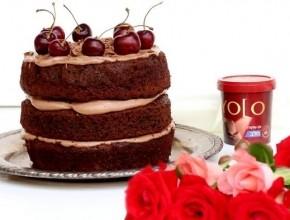 كعكة شوكولاطة بحشوة كريم يولو شوكولاطة