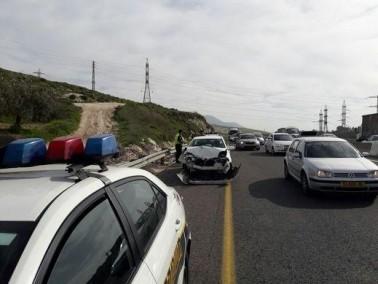 حادث طرق بين 4 سيارات قرب دير الاسد