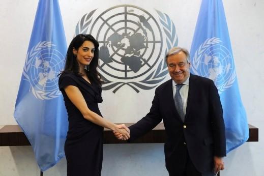 أمل كلوني في الأمم المتحدة من اجل العراق