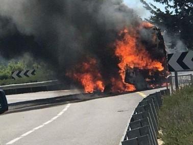 اندلاع حريق في حافلة في الجليل الاعلى دون اصابات