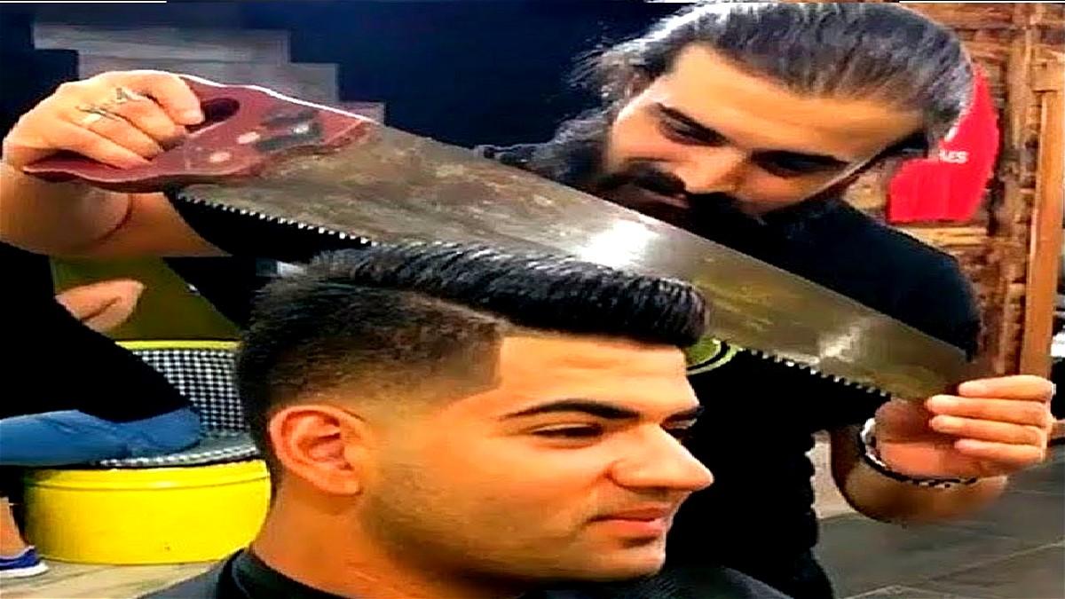 امهر 10 حلاقين فى العالم: حلاق يحلق بمنشار