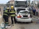 حادث طرق على مدخل كفرقاسم يسفر عن إصابة خطيرة