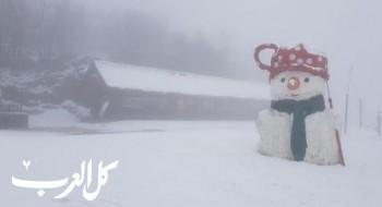 صور وفيديو- تساقط الثلوج على جبل الشيخ ودرجة الحرارة -1