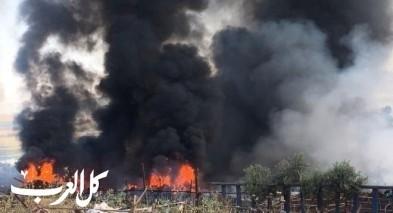 دبورية: تواصل العمل على إخماد النيران