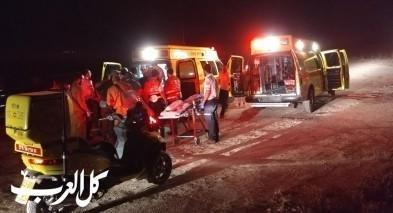 اصابة 3 شبان بجراح خطيرة ومتوسطة اثر انقلاب سيارة على شارع 40 قرب رهط