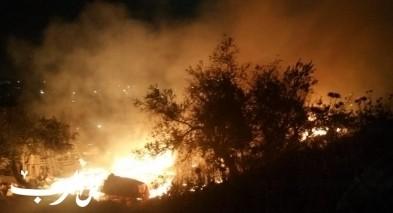 اندلاع حريق قرب ملعب كرة القدم في كفرقرع