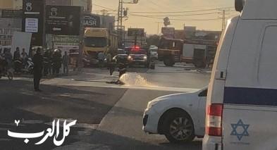 كفرياسيف: انقلاب شاحنة محملة بمادة حامضية