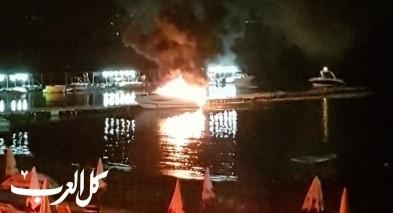 اندلاع النيران بقارب في بحيرة طبريا دون وقوع اصابات