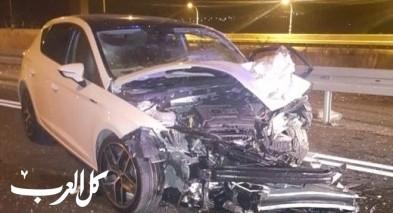 اصابة 4 اشخاص في حادث طرق بين سيارتين ودراجة نارية قرب العفولة