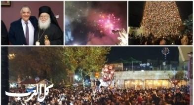 الناصرة: الاحتفال بإضاءة شجرة الميلاد في ساحة البشارة بمشاركة رئيس البلدية علي سلام