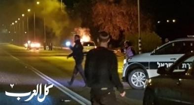 اندلاع النيران بسيارة على مفرق كفركنا دون اصابات