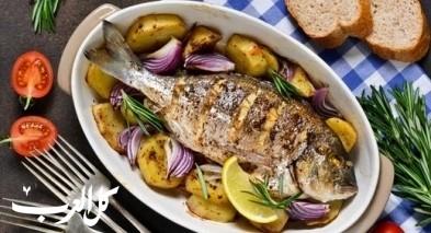 طريقة تحضير صينية السمك مع البطاطا