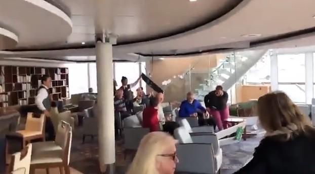 فيديو - صراخ وذعر داخل سفينة نرويجية