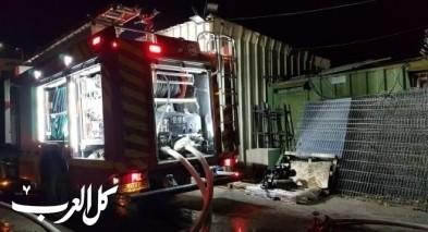 اندلاع حريق كبير في مخزن تابع لبلدية رهط