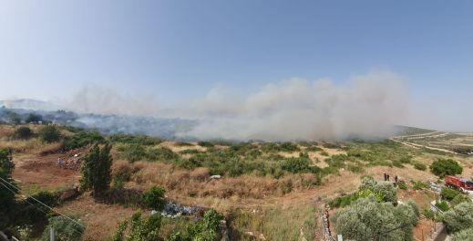 حريق كبير في منطقة حرشية قرب المغار