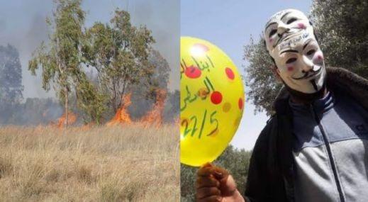 غزة: اكثر من عشر حرائق بفعل البالونات الحارقة