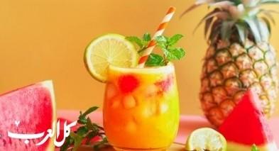 عصير البطيخ والأناناس اللذيذ والمنعش