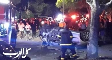 اصابة 3 اشخاص بانقلاب سيارة على مدخل عين ماهل