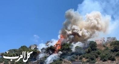اندلاع حريق هائل بالقرب من المنازل في بلدة الفريديس