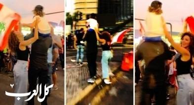 ميريام فارس تتظاهر مع زوجها وابنها
