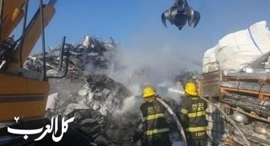 عكا: إندلاع النيران بمعمل لتخزين الخردوات