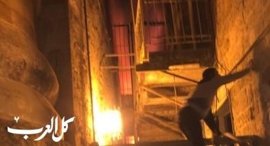 عكا: اصابة شخص اثر حريق قرب مسجد المجادلة
