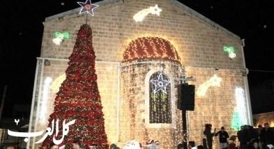 الرامة: اضاءة شجرة الميلاد بكنيسة مار جوارجيوس
