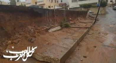 الطيبة: انهيار جدار بموقف سيارات لمدرسة عمر بن الخطاب