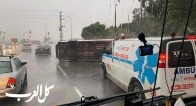 حادث طرق ذاتي قرب قلنسوة واصابة شخص بجراح