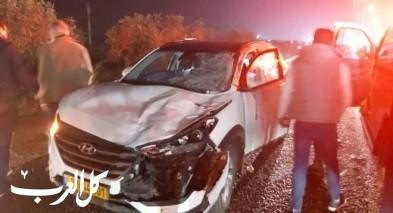 اصابة سائق بعد اصطدام مركبته بحصان قرب عرابة