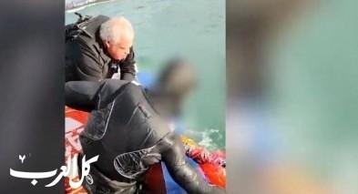 انقاذ راكب امواج بعد غرقه قرب شواطئ حيفا