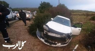 ام الريحان: حادث طرق ذاتي يسفر عن إصابة شخصين