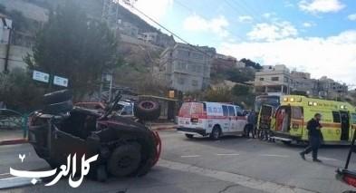 الشبلي: إصابة شاب وفتاة بإنقلاب تراكتورون