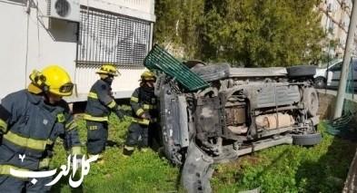 إنقاذ مصاب بحادث طرق ذاتي بكريات آتا