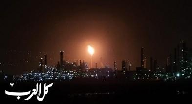 شعلة ضخمة بمصافي النفط في ميناء حيفا