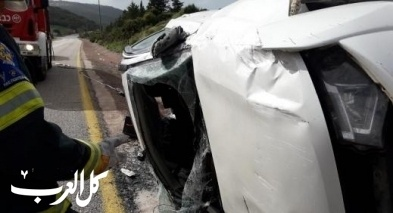 اصابة شخصين بحادث طرق ذاتي قرب كوكب ابو الهيجاء