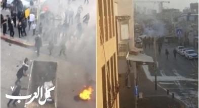 مواجهات عنيفة وحرق إطارات في يافا