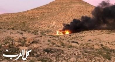 النقب: حرق مركبة نقل المخدرات على حدود مصر