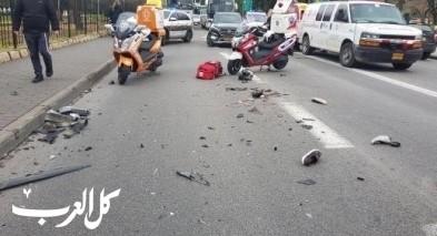 اصابة راكب دراجة نارية من طمرة بجراح خطيرة