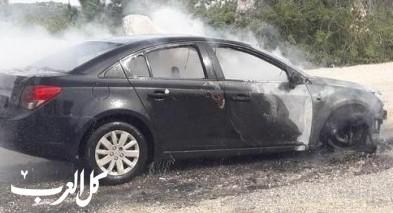 إشتعال النيران بسيارة عند مفرق كوكب أبو الهيجاء