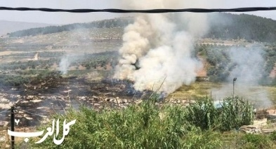 الرينة: اندلاع حريق في اراضي زراعية واسعة