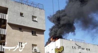الخضيرة: حريق كبير في مبنى سكني